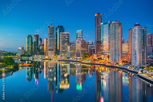 Autocollant pour porte Océanie Brisbane. Cityscape image of Brisbane skyline, Australia during sunrise.