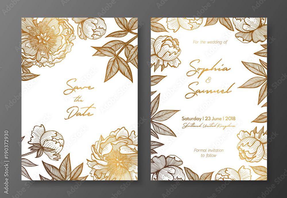 Obraz Gold Wedding Invitation With Peonies Gold Cards