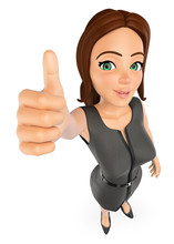 3D Business Woman With Thumb Up