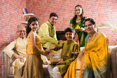 Foto  Raksha Bandhan or Rakshabandhan or Rakhi - Indian small Brother and sister celeb