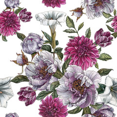 Fototapeta Floral seamless pattern with watercolor peonies, datura flower, dahlias and tulips