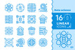 Leinwanddruck Bild - Linear icon set of Data science technology and machine learning process. Material design icon suitable for print, website and presentation