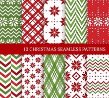 Ten Christmas Different Seamle...
