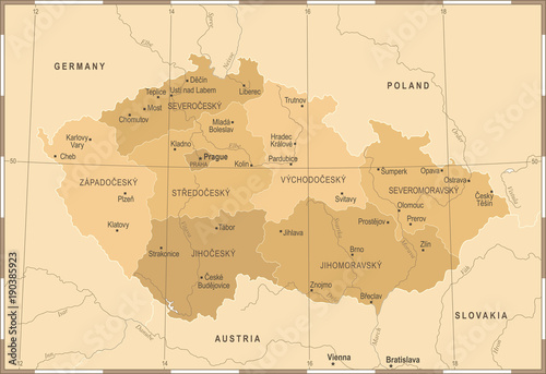 Fotomural Czech Republic Map - Vintage Detailed Vector Illustration