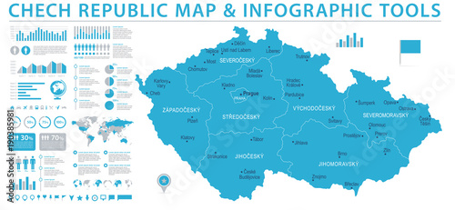 Czech Republic Map - Info Graphic Vector Illustration Wallpaper Mural