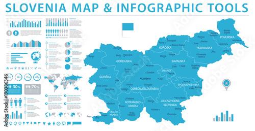 Slovenia Map - Info Graphic Vector Illustration Wallpaper Mural