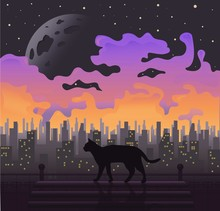 Black Cat At Full Moon. Purple Background Vector