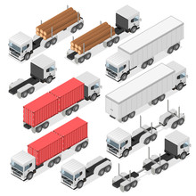 Set Of Trucks In An Isometric ...