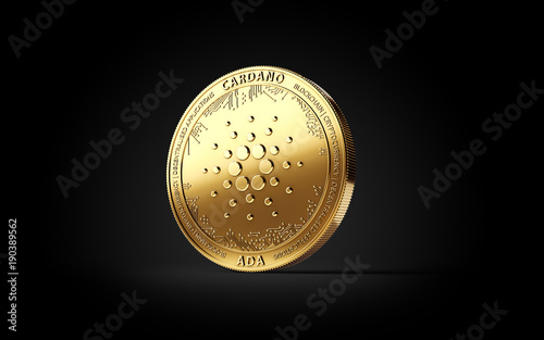 Photo Golden CARDANO (ADA) cryptocurrency concept coin isolated on black background