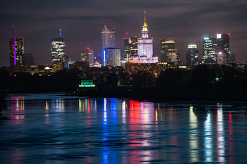 Fototapeta Warszawa Night panorama of Warsaw waterfront and downtown skyline