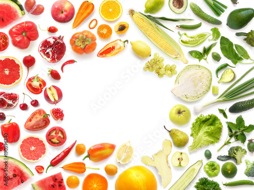 Frame of various vegetables and fruits isolated on white background with empty space for text, top view, flat lay. Concept of healthy eating.  © Tatiana Morozova