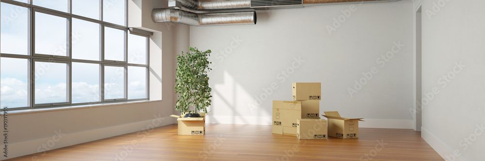Fototapety, obrazy: Umzug in Loft mit Umzugskartons