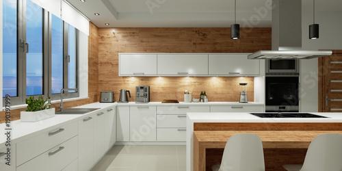 Valokuvatapetti Beleuchtung in weißer Küche bei Nacht