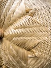 Brown Woven Bamboo Close Up Te...
