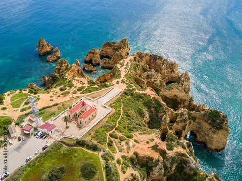 Fotomural Aerial view from The Lighthouse in Ponta da Piedade, Lagos, Algarve, Portugal