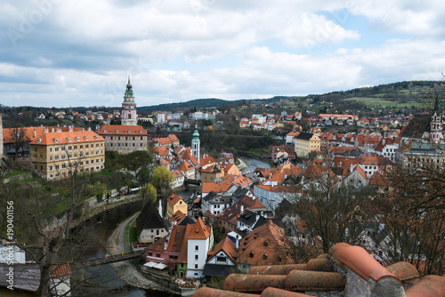 Garden Poster Palermo Panoramic view over the old Town of Cesky Krumlov, Czech Republic