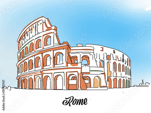 Tableau sur Toile Rome Colloseum Sketch