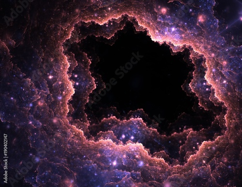 Fotomural  Abstract illuminated fractal clouds hole with lens flare on black background