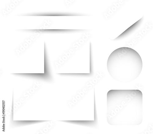 Obraz Vector set of paper shadows isolated on white background - fototapety do salonu