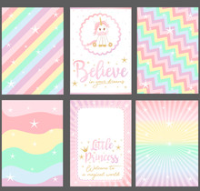 Set Of Colored Pastel Vector C...