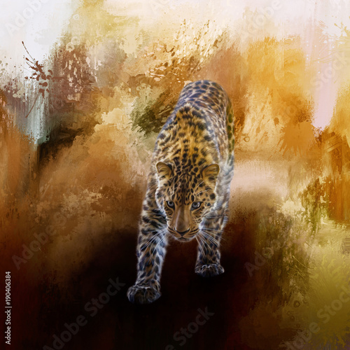 Photo A fantastic painted russian amur leopard with a brown background