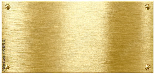 Gold shining metal plate with screw nail heads Wallpaper Mural