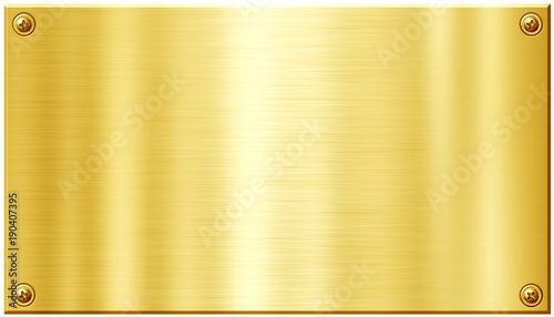 Golden metal plate with screw nail heads Wallpaper Mural