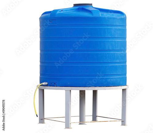 Fényképezés  Blue plastic water storage tank on white background