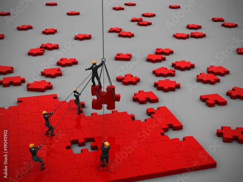 Fotografie, Obraz  Company teamwork to manage a project of red jigsaw puzzle as 3d render