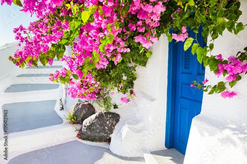 Foto auf Leinwand Santorini White architecture and pink flowers, Santorini island, Greece.