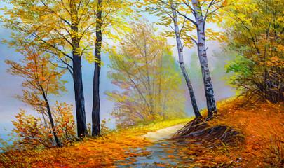 Fototapetaautumn landscape, canvas, oil