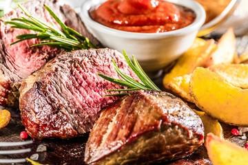 Fototapeta Do steakhouse Steak Gericht