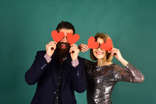 Blind Love Symbol And Dating Concept. Girl And Bearded Man