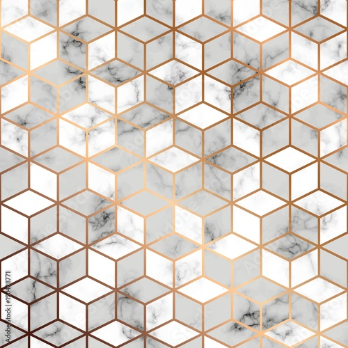 Fotografía Vector marble texture, seamless pattern design with golden geometric lines and c