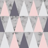 Vector marble texture design with triangles, black and white marbling surface, modern luxurious background - 190431159