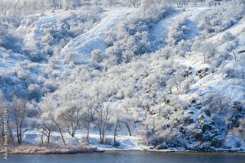 Foto op Plexiglas Arctica Spectacular winter landscape with frozen trees on the river bank