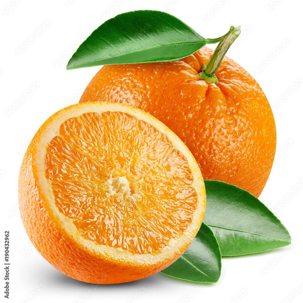 Fototapety, obrazy: orange fruits with leaf