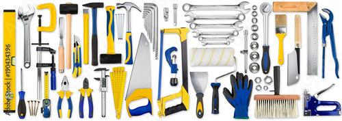 Obraz hand tool diy set collection isolated on white background / Werkzeug handwerkzeuge heimwerker sammlung isoliert hintergrund weiß - fototapety do salonu