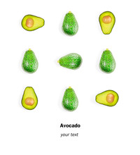Flat Lay Layout, Avocado With Full Balls And Split Ends. Food Concept.