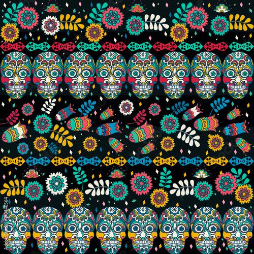 multicolor-szwu-styl-boho-urzadzone-tribal-tekstury-czaszki-i-kwiaty-na-paskach-ilustracji-wektorowych-eps10