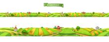 Farm. Landscape, Seamless Panorama, 3d Vector Illustration