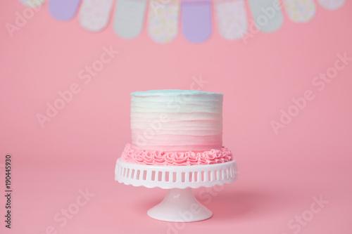 Fotografia, Obraz Girly Pink and Blue Birthday Cake on a Stand
