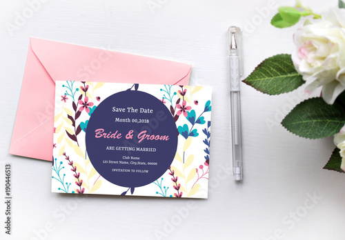 modern floral save the date card layout 1 buy this stock template