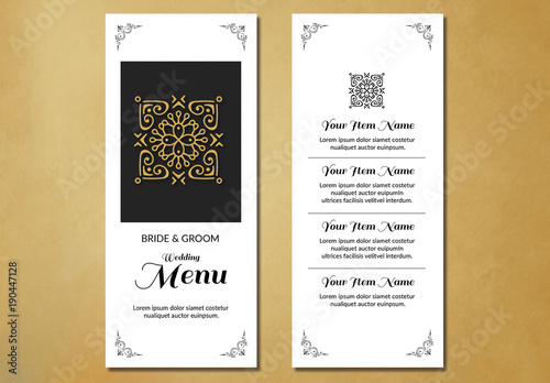 filigree and embellished corners wedding menu layout 1 buy this