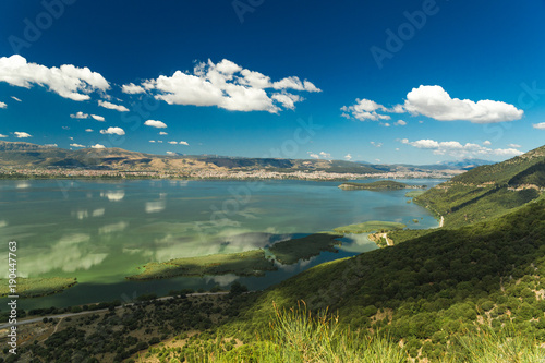 Papiers peints Alpes spring in Ioannina city Greece , lake Pamvotis , clouds sky