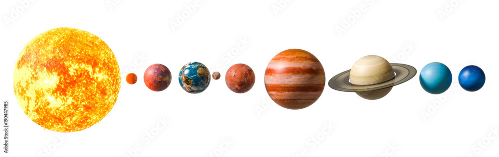 Fototapety, obrazy: Planets of the solar system, 3D rendering