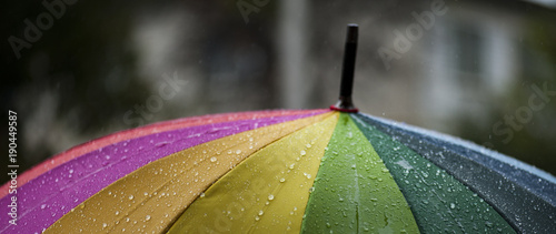 Foto Close-up  umbrella in rainbow colors in rainy autumn day, blur focus