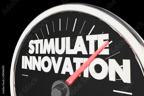 Fotografie, Obraz  Stimulate Innovation Speedometer New Ideas Innovative Concepts 3d Illustration