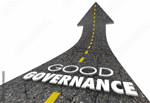 Fotografía  Good Governance Oversight Management Road Words 3d Illustration