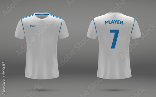 Realistic Soccer Jersey T Shirt Uniform Template For Football Club